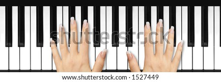 French manicure on keyboard