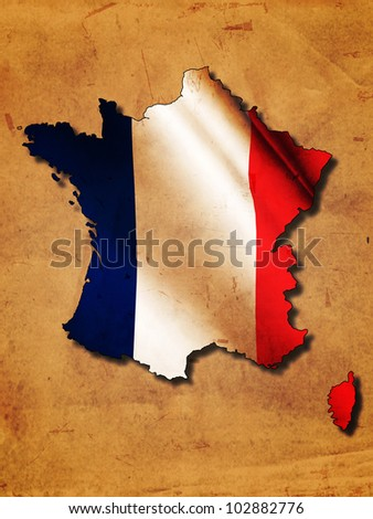 French map with flag over old paper - stock photo