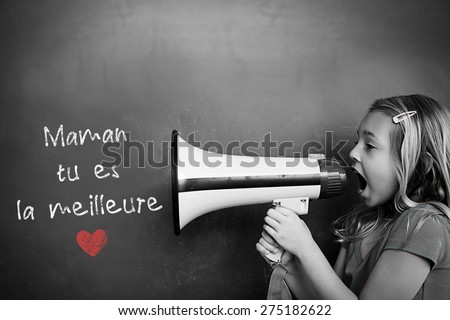 French mothers day message against schoolchild with blackboard - stock photo