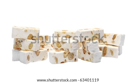 French nougat pieces. - stock photo