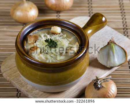 French onion soup with  cheese and bread - stock photo