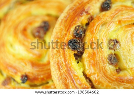 French patisserie products on wooden board