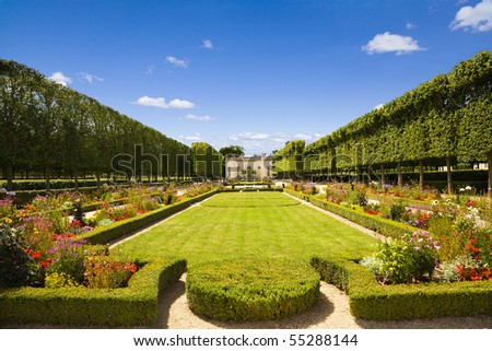 French pavilion and garden from le Petit Trianon in Versailles Chateau. France - stock photo