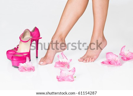 French pedicure, pink flowers and high heels