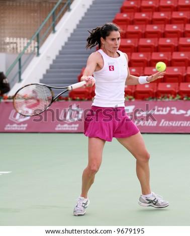 French player Nathalie Dechy in action against Svetlana Kuznetsova at the Qatar Total Open, Feb 20, 2008 - stock photo