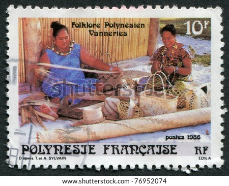 FRENCH POLYNESIA - CIRCA 1986: Postage stamps printed in French Polynesia, depicts a woman weaving a basket weaving, circa 1986 - stock photo