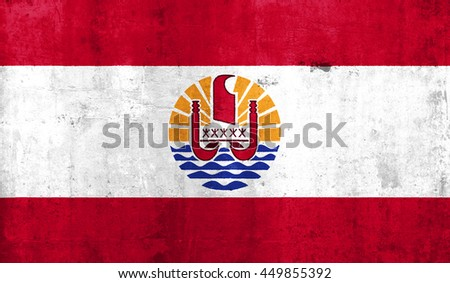 French Polynesia country flag with grunge wall texture background. - stock photo