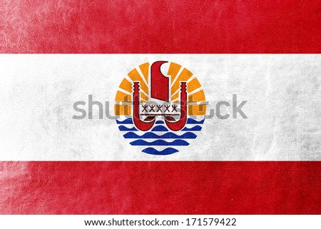 French Polynesia Flag painted on leather texture - stock photo