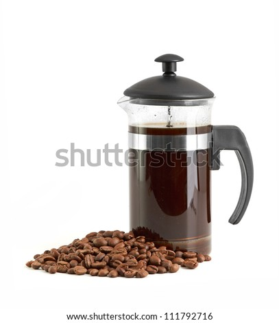French press coffee maker on white background - stock photo
