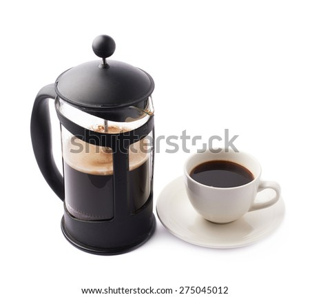 French press coffee pot next to cup of coffee, composition isolated over the white background - stock photo
