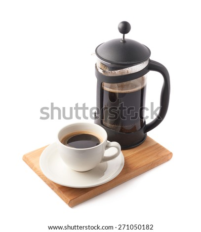 French press pot coffee maker and ceramic cup of coffee over the booden serving board, composition isolated over the white background - stock photo
