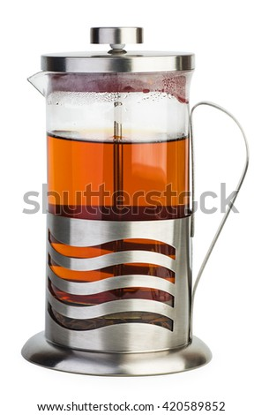French press with black tea isolated on white background - stock photo