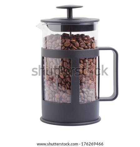 French press with coffee grains on the isolated background - stock photo