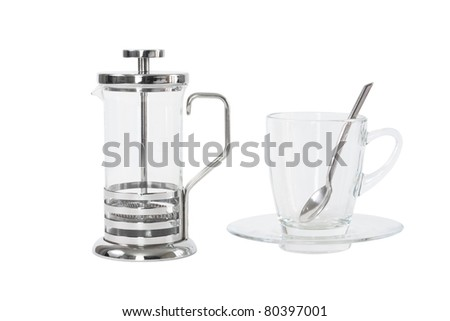 french press with cup isolated white - stock photo