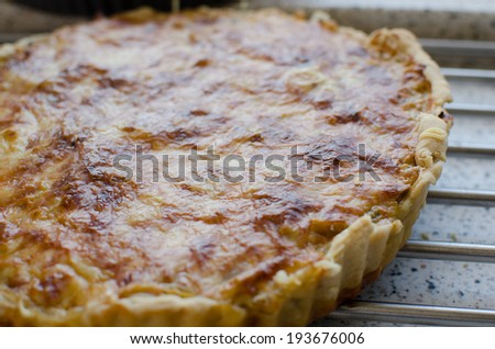French quiche with pork, chicken, cheese and creame