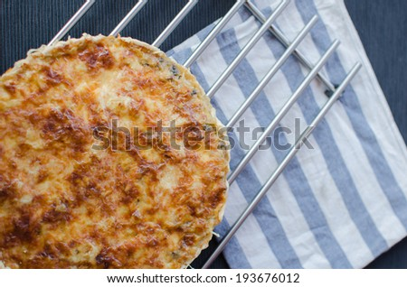 French quiche with pork, chicken, cheese and creame - stock photo