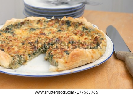 French quiche with spinach, cheese, minced meat and onion on an old rustic ceramic plate - stock photo