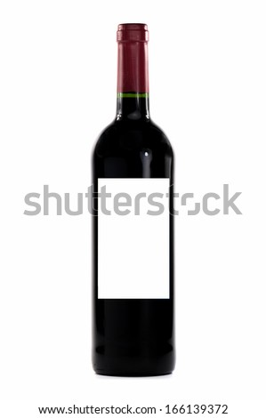 French red wine isolated on white - stock photo