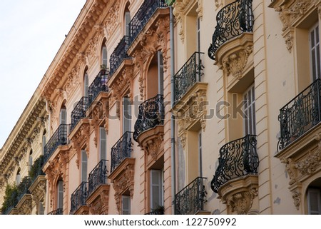 French Riviera, Nice. Typical city architecture - stock photo