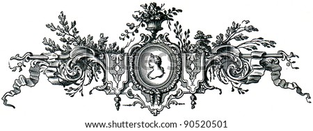 French Rococo vignette, 1715 - an illustration of the encyclopedia publishers Education, St. Petersburg, Russian Empire, 1896 - stock photo