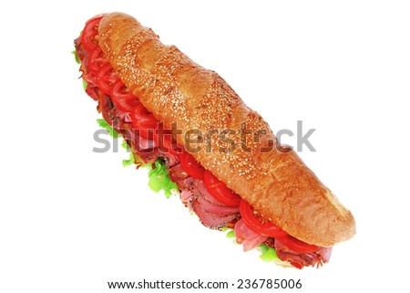 french sandwich : baguette with smoked sausage isolated over white - stock photo