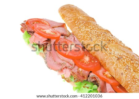 french sandwich : long baguette with smoked chicken sausage isolated on white background - stock photo