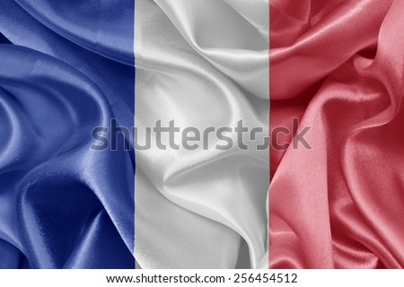French satin flag. France flags