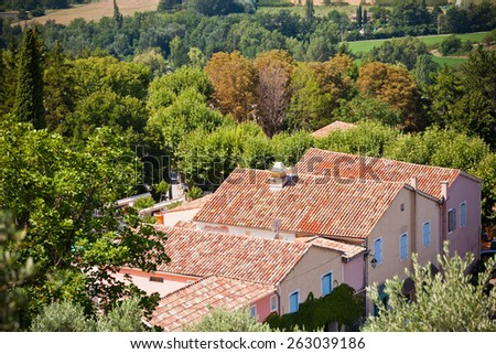 French small town view from above. Horizontal shot with a selective focus - stock photo