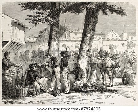 French soldiers in a Lebanese marketplace. Created by Lanson, published on L'Illustration, Journal Universel, Paris, 1860 - stock photo