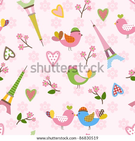 French styled pattern with birds, hearts and Eiffel. Pink. Seamless pattern can be used for wallpaper, pattern fills, web page background, surface textures. - stock photo