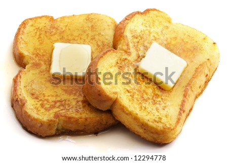 french toast with piece of butter, isolated on white