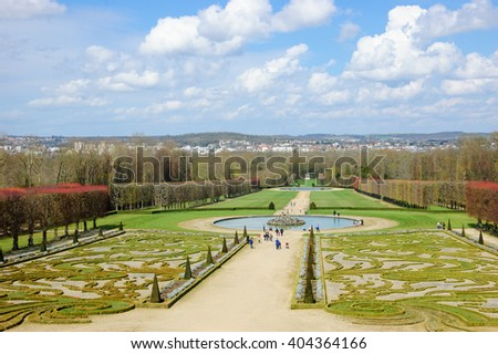 French traditional garden in Champs-sur-Marne (France).