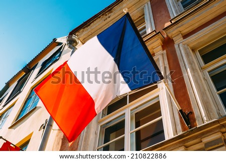 French Tricolours Flag Decorate A Local Government Building In Paris, France - stock photo