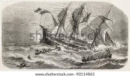 French vessel Imperatrice-du-Bresil shipwreck, old illustration. Created by Lebreton, published on L'Illustration, Journal Universel, Paris, 1858 - stock photo