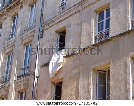 French window with blanket