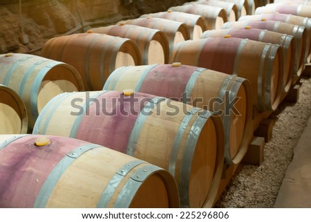 french winery with  wooden barrels - stock photo