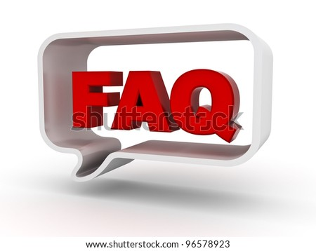 Frequently ask question concept, word faq in speech bubble on white background - stock photo