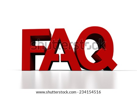 frequently asked question 3d render, close up - stock photo