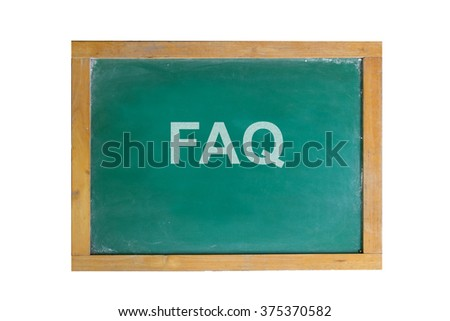 frequently asked question (FAQ) text on blackboard - stock photo