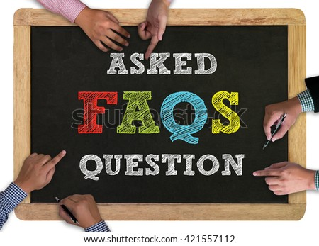 Frequently Asked Questions Faq Feedback  Concept vintage blackboard with wooden frame on white background. - stock photo