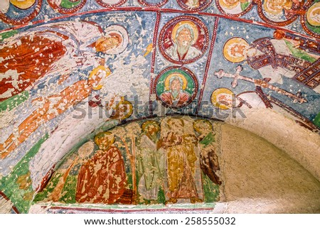 Fresco in cave orthodox church El Nazar, Cappadocia, Turkey - stock photo