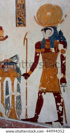 Fresco in one of the tombs in the Valley of King. Luxor. Egypt. - stock photo