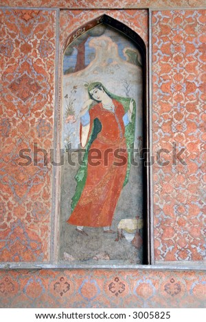 Fresco painting in Ali Qapu Royal palace in Isfahan, Iran