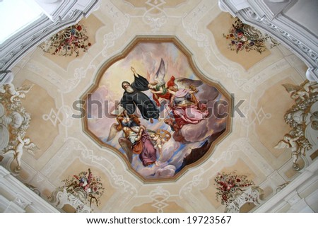 Fresco painting in the cloister Melk - stock photo
