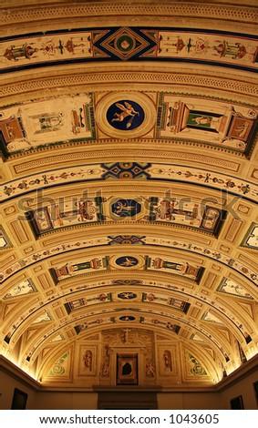 Fresco's in the royal Museum of El Escorial. - stock photo