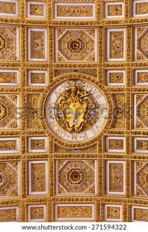 Fresco with the coat of arms of Pope Pius VI (Pius Sextus) in the Saint Peter's Basilica. - stock photo