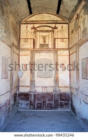 Frescoes in an room in ancient Pompeii - stock photo