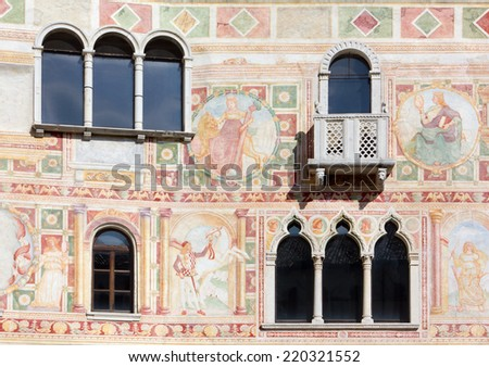 Frescoes on the Exterior Wall of the Castle of Spilimbergo, Italy - stock photo