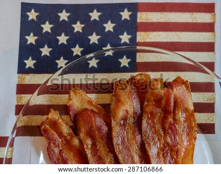 Fresh American Gourmet bacon and placemats for flag day and 4th of July Holiday - stock photo