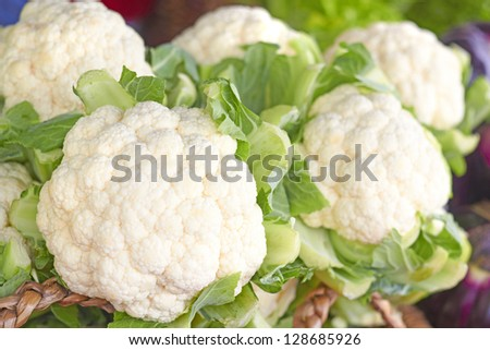 Fresh and clean cauliflowers for sale at the market. Horizontal Shot. - stock photo